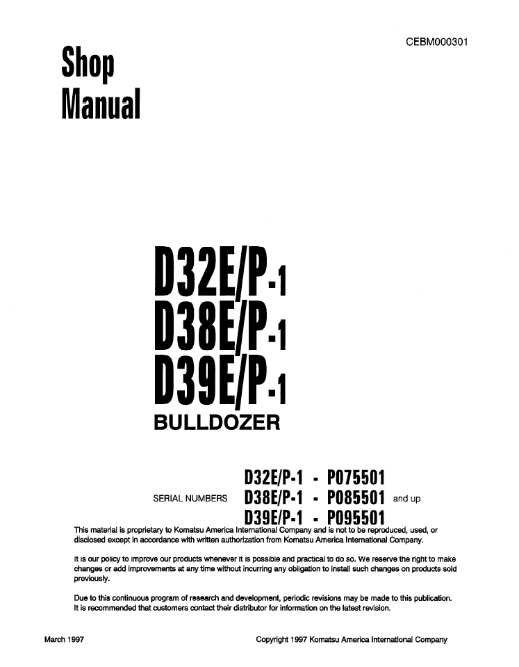 Komatsu Shop Manual PC100-2, PC100L-2, PC120-2 Hydraul