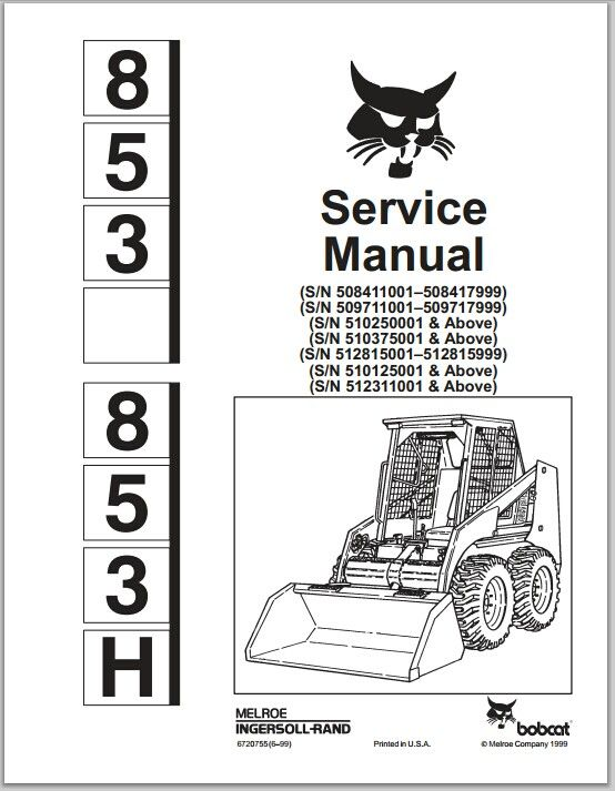 Bobcat 853 853H Skid Steer Loader Service Repair Works