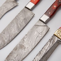 Red Kitchen Knife Set American Standard Silhouette Sink Wood Stainless Steel Damascus Chef S Knives Of 4
