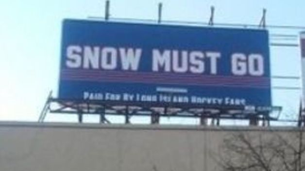 Image result for snow must go billboard