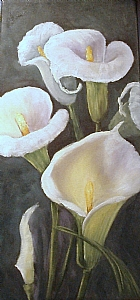 Calla Lilies Revisited Flowers,Canvas,glowing by Barbara Haviland Oil ~ 15 x 7