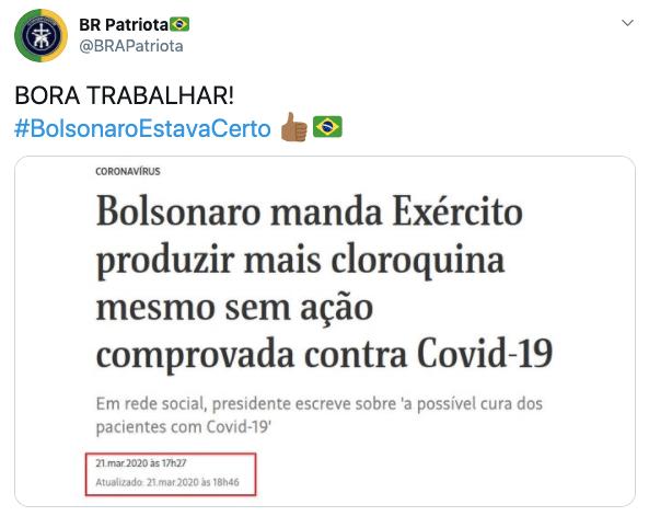 Internautas lembraram que Jair Bolsonaro já havia investido na cloroquina mesmo antes do sucesso do remédio
