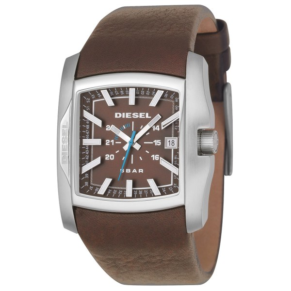 Diesel Dz1179 Brown Square Face Leather Strap Watch Masdings