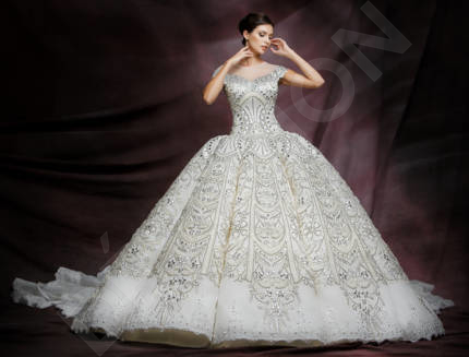 Isabella-Luiza Luxury Satin Wedding dress White | Devotiondresses.com