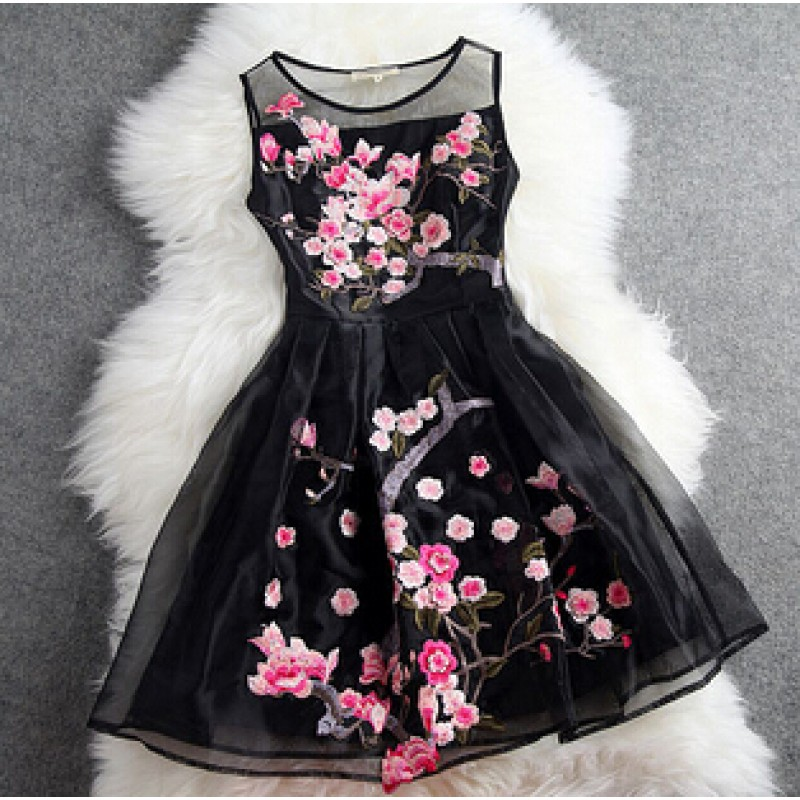 Black Sleeveless Organza Short Prom Flower Embroidery Wedding Cocktail Party Dress