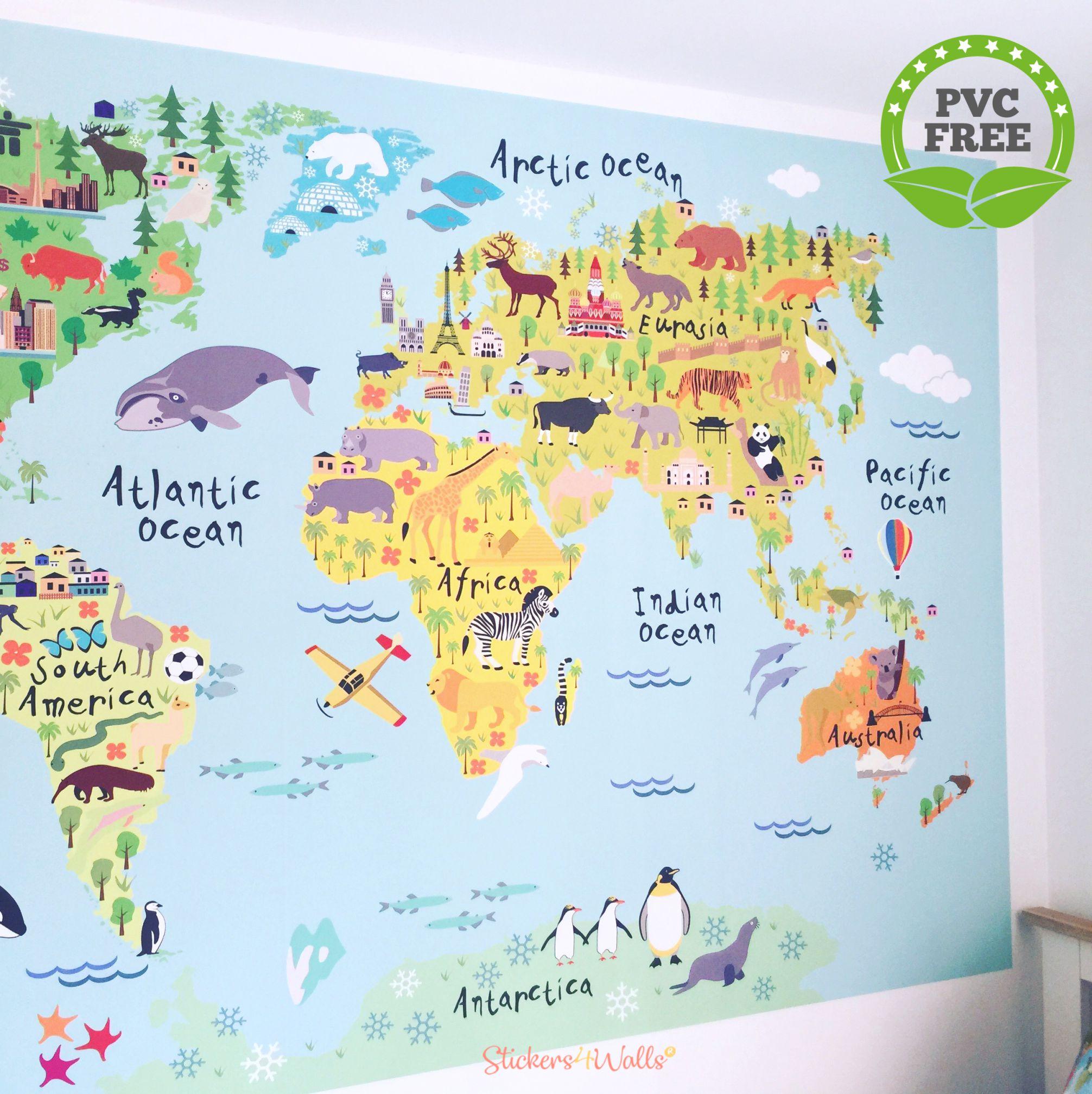 World Map Fabric Wall Sticker For Kids