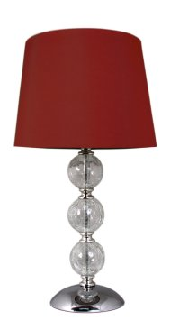 Crackle Glass Ball Table Lamp Red