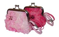 Pretty Pink Purse with Chiffon Flower & Sequin design and