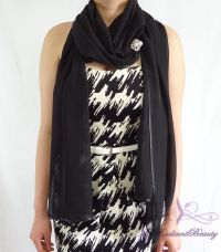Bridal Black Silk Chiffon Evening Wrap Shawl