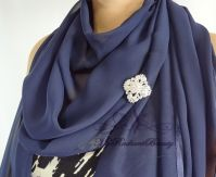 Bridal Navy Blue Silk Chiffon Evening Wrap Shawl