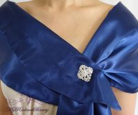 Bridal Navy Blue Silk Satin Evening Wrap Shawl