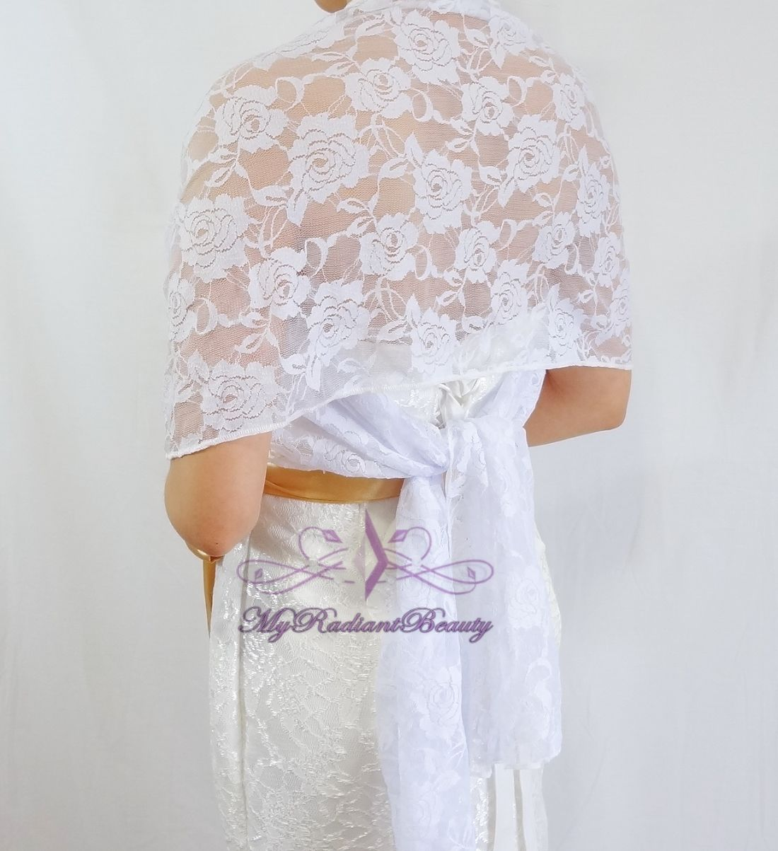 Bridal Lace Wrap Stole, White Lace Shawl, Bridal Silk Lace