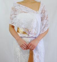 Bridal Lace Wrap Stole, White Lace Shawl, Bridal Silk Lace