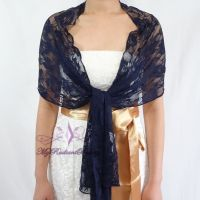 Bridal Lace Wrap Stole, Navy Blue Lace Shawl, Bridal Silk ...