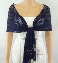 Bridal Navy Blue Lace Evening Wrap Shawl, Wedding Scarf