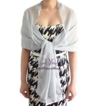 Bridal Silver Silk Chiffon Evening Wrap Shawl