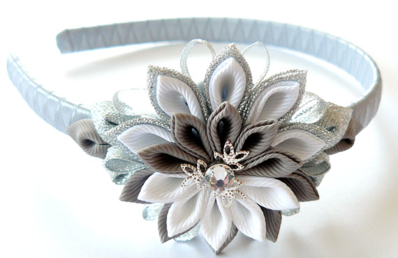 Kanzashi Flower Headband White Grey And Silver