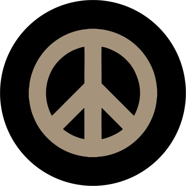 Goby Tan Peace Sign Tire Cover