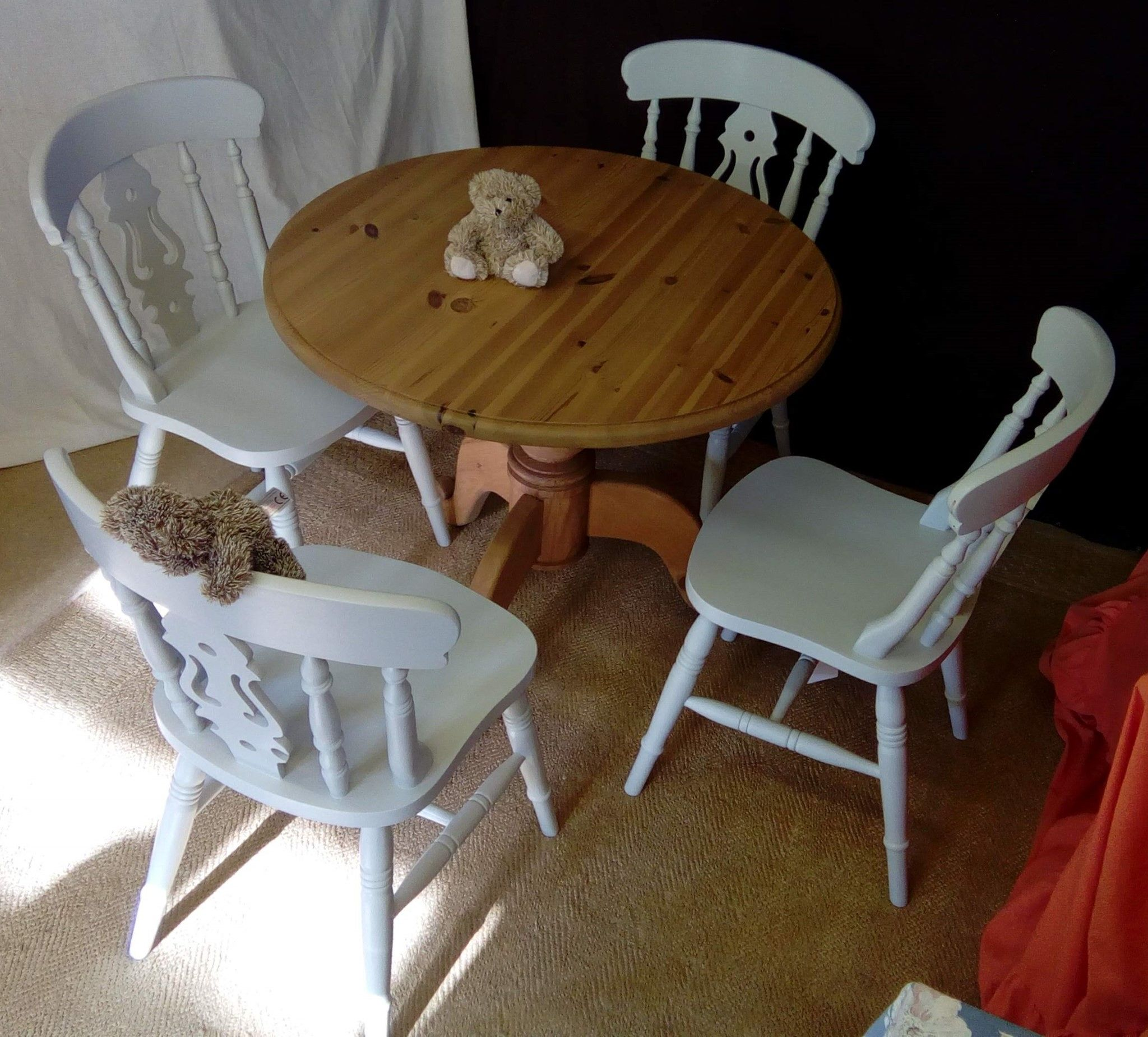 Refurbished Chairs Table Solid Pine Four Seater Dining Table With Option Of Set Of 4 Dining Chairs