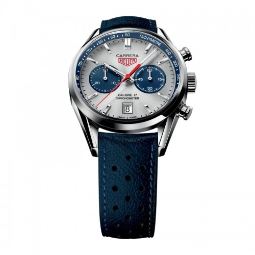 Tag Heuer Carrera Chronograph Blue Leather Mens Watch