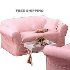 Sofa Seat Cover Design Full Size Convertible Rachel Ashwell Slipcover Pink Denim Simply Shabby ...