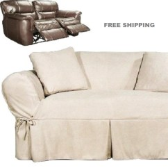 Dual Reclining Sofa Slipcover Turquoise Cover Loveseat Heavy Suede Ivory Sure ...