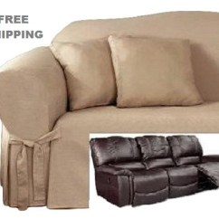 2 Seat Reclining Sofa Cover Flexsteel Dylan Leather Conversation Slipcover Cotton Taupe Sure Fit Dual Recliner Couch