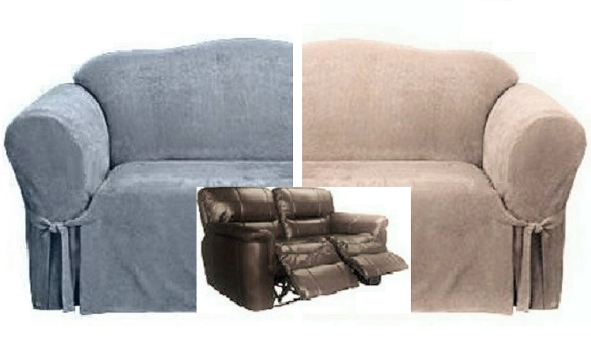 dual reclining sofa slipcover 80 inch leather sofas loveseat suede blue or taupe sure ...