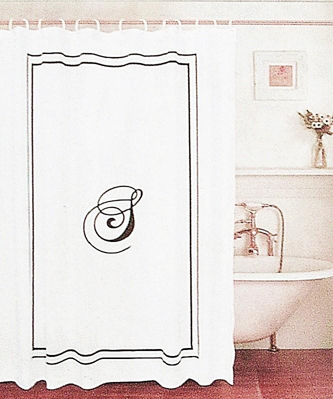 Shower Curtain Black Monogram Letter S White Fabric Black