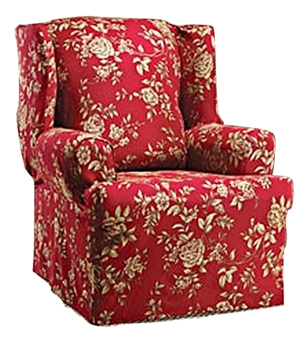 WING CHAIR Slipcover Floral BurgundyRed Wingback Sure Fit