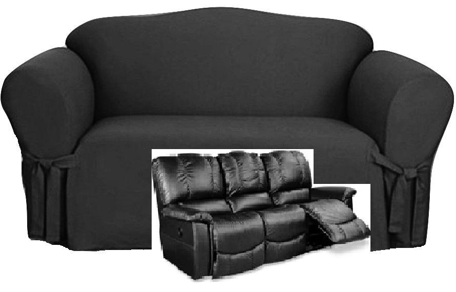 sofa sfc finn juhl poet dual reclining slipcover black cotton sure fit ...