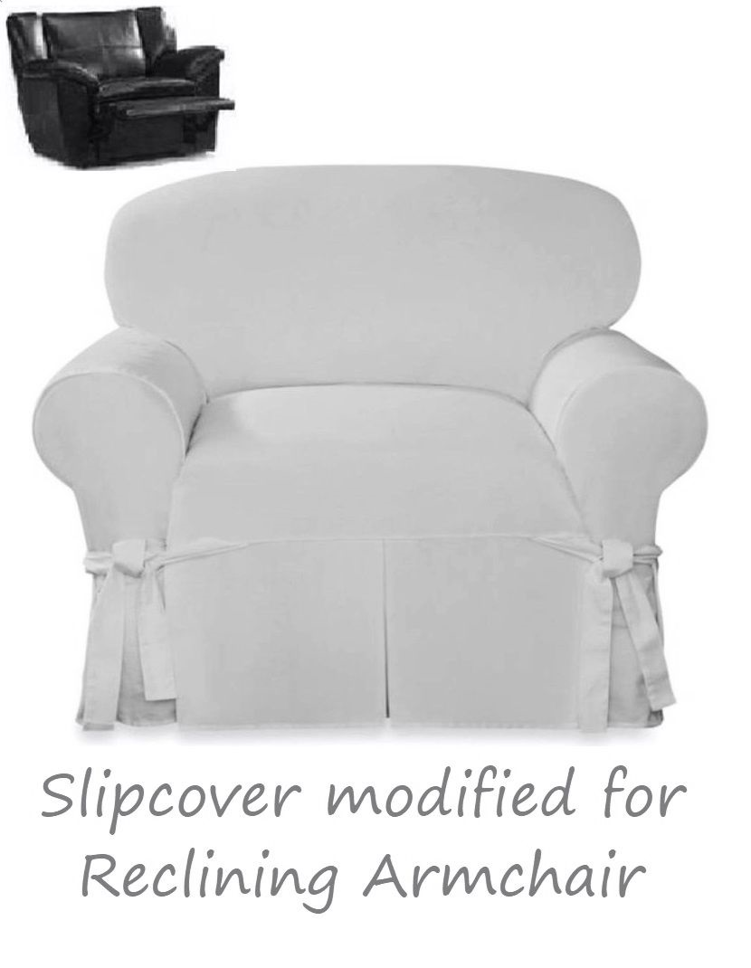 Slip Cover For Chair Reclining Chair Slipcover White Farmhouse Twill Sure Fit Armchair Cover