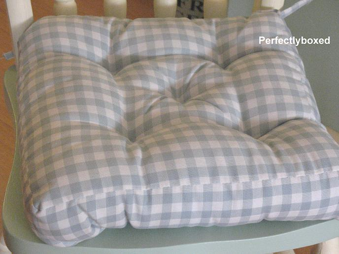 Blue Gingham Seat Pads At Wwwperfectlyboxedcom