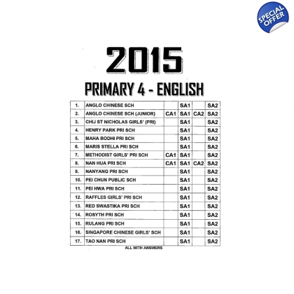 Primary 4 2015 English, Maths, Science, Chinese