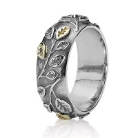 Pandora Silver and 14Ct Gold Leaf Ring 190140