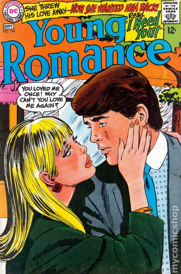 Young romance comics 1963 1975 dc comic books, love color pages