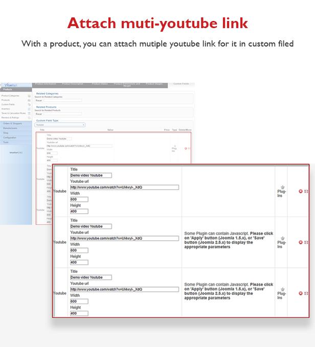 Plugin Youtube For Virtuemart