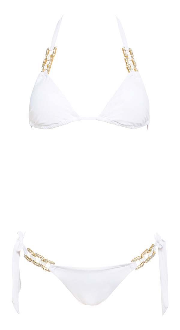 Clothing : Swimwear : 'Maui' White Embellished Bikini