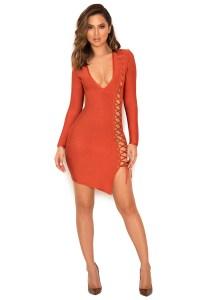 Clothing : Bandage Dresses : 'Daniela' Tan Lace Up Bandage