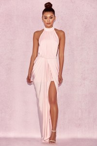 Clothing : Max Dresses : 'Vittoria' Baby Pink Draped Silky ...
