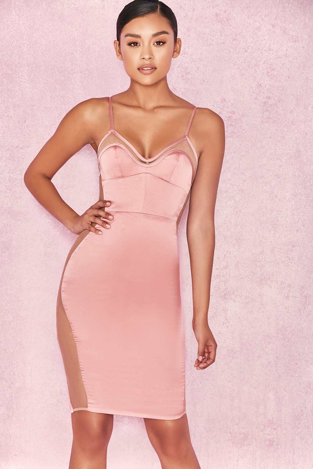Clothing : Bodycon Dresses : 'Antares' Dusty Pink Satin
