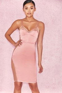 Clothing : Bodycon Dresses : 'Antares' Dusty Pink Satin ...