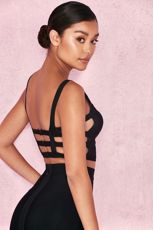 Clothing  Tops  Amine Black Bandage Extreme Plunge Strappy Top