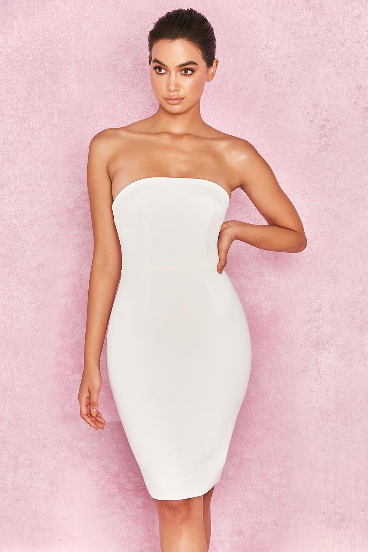 Clothing  Bodycon Dresses  Rinah White Strapless