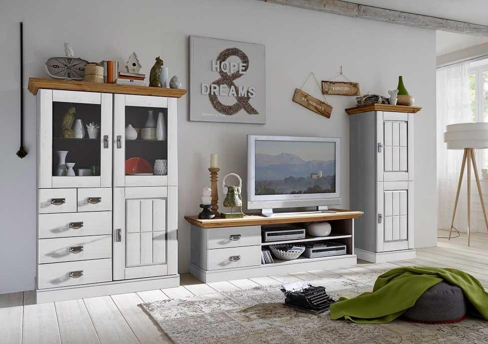 Wohnzimmer Landhaus TV Kombination Fjord wei gelaugt gelt von Jumek gnstig bestellen  SKANMBLER