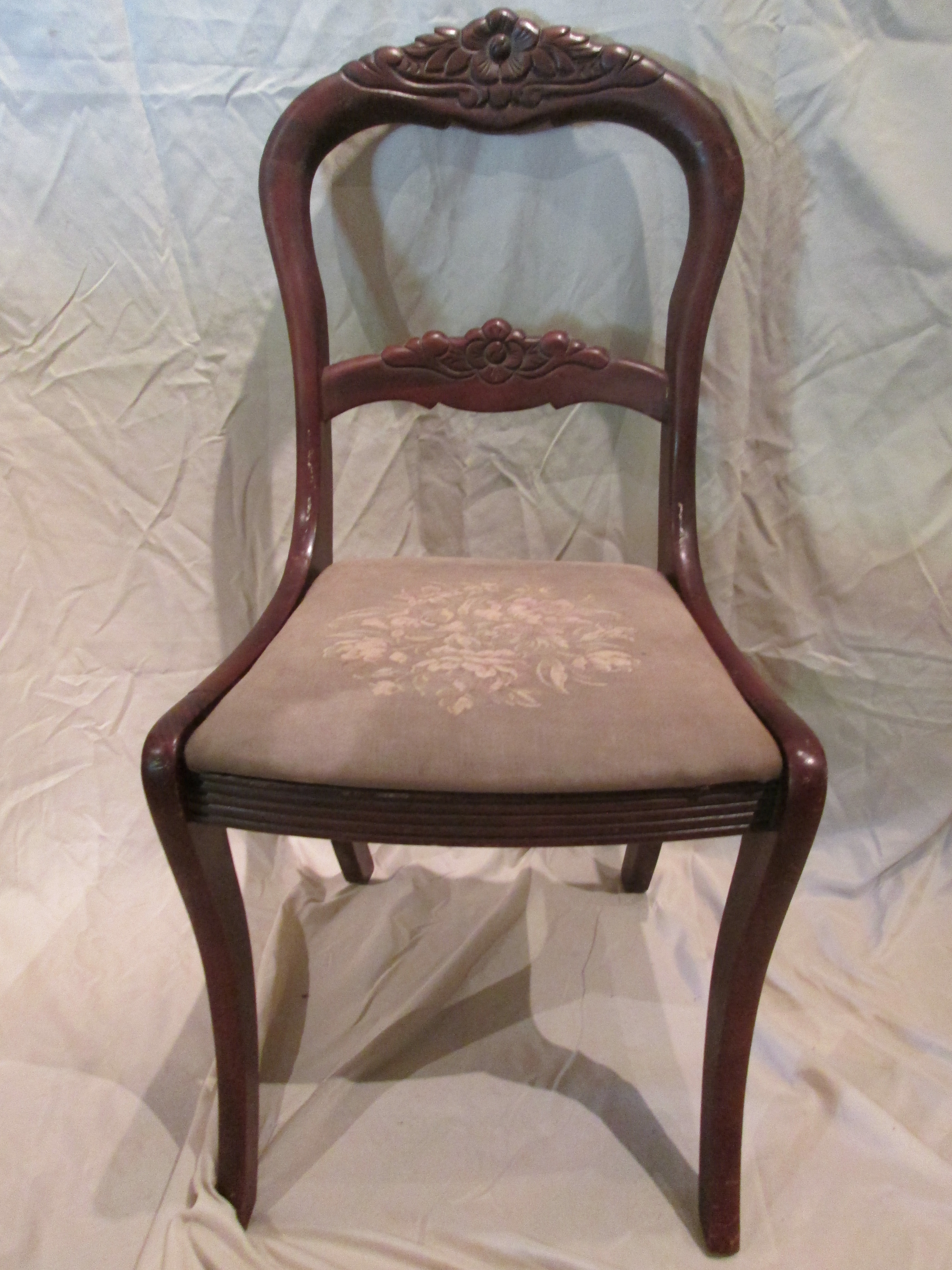 tell city chairs pattern 4548 folding chair hooks company rose balloon back antique