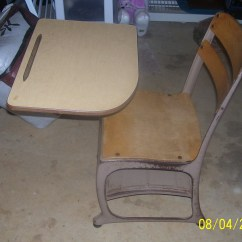 Chair Connected To Desk Patio Chairs With Cushions Vintage Childrens School Attached Antique