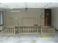 3 Antique Brass Beds, set: 1 double, 2 twins; 1890's ...