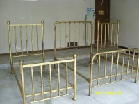 3 Antique Brass Beds, set: 1 double, 2 twins; 1890's ...