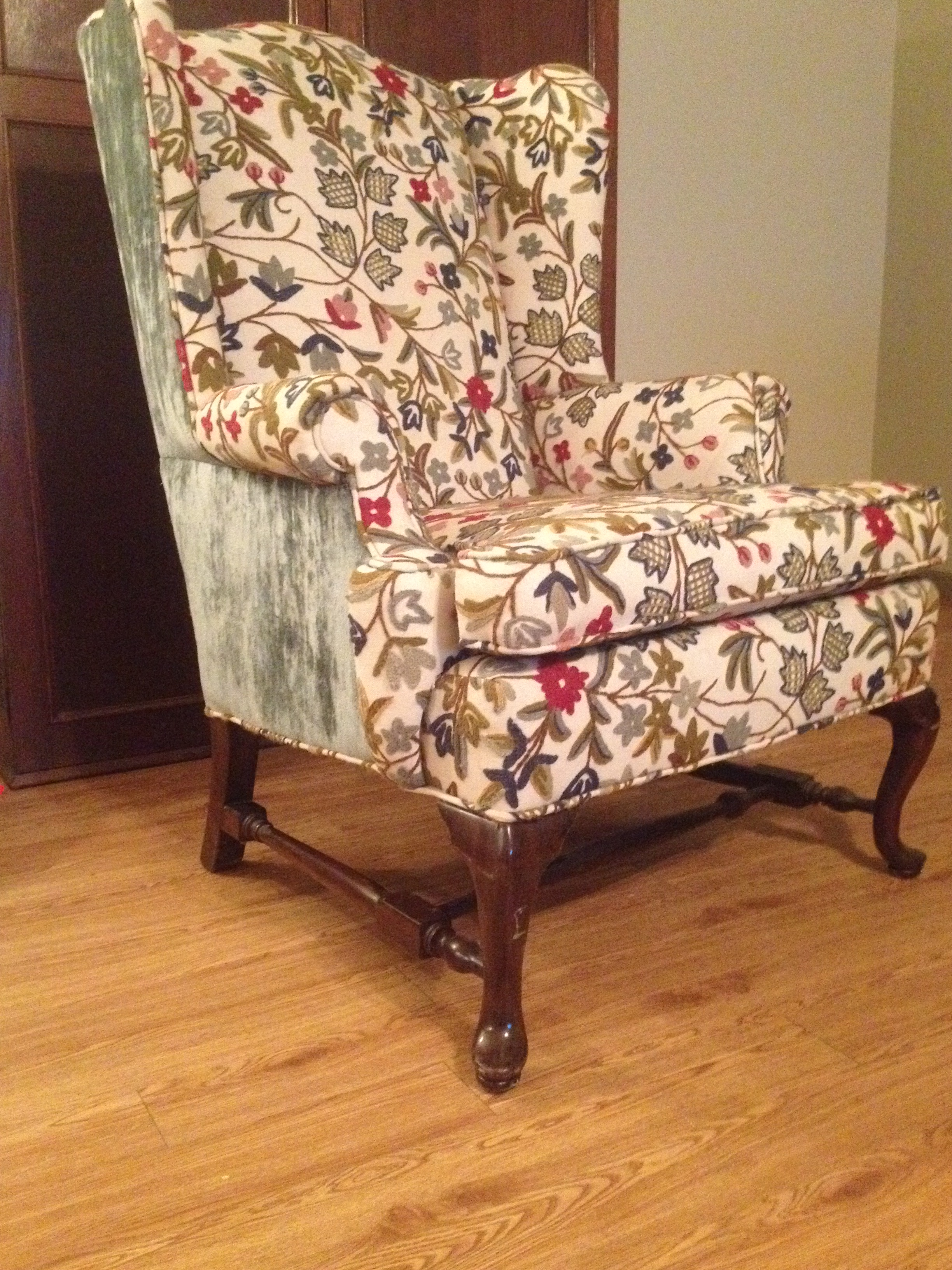 traditional wingback chair wheelchairs for dogs uk ethan allen wing back with crewel work antique appraisal